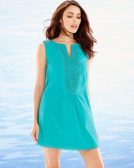 Crochet Trim Sleeveless Cotton Cover Up Atlantis Jade