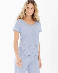 Cool Nights and Cotton Short Sleeve Pajama Top Impeccable Larkspur Border