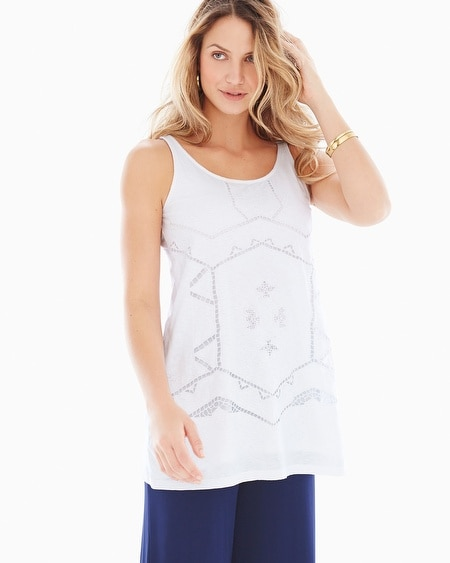 Cutwork Cotton Sleeveless Top White