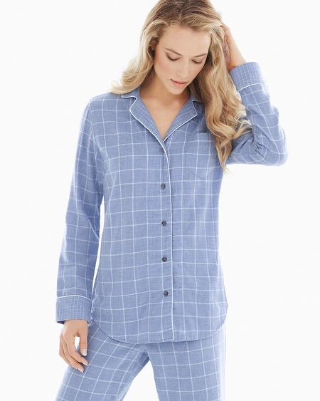 Essential Long Sleeve Cotton Pajama Top Plaid Lavender Luster