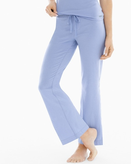 Essential Cotton Blend Pajama Pants with Trim Lavender Luster