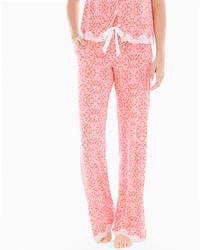 Embraceable Cool Nights Tall Inseam Pajama Pants Island Scroll Coral Hype