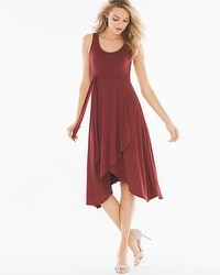 Faux Wrap Midi Dress Deep Fig