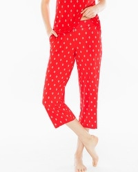 Embraceable Cool Nights Crop Pajama Pants Cape Paisley Geo Poppy