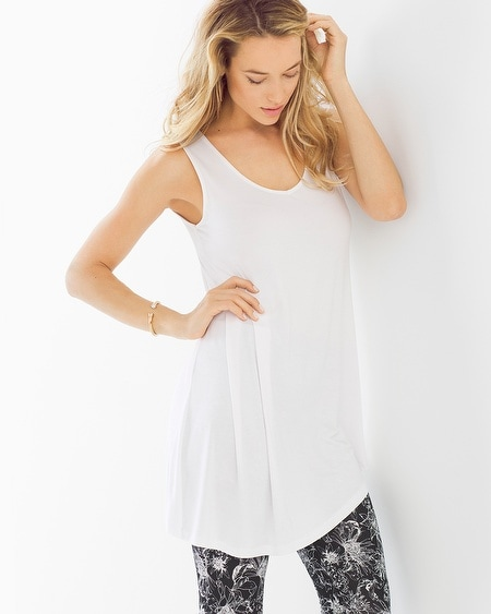 Side Drape Tunic Bright White