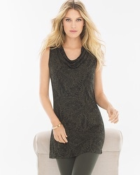 Live. Lounge. Wear. Sleeveless Cowlneck Tunic Linework Floral Dark Olive
