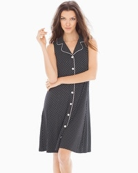 Embraceable Cool Nights Sleeveless Sleepshirt Mod Dot Black