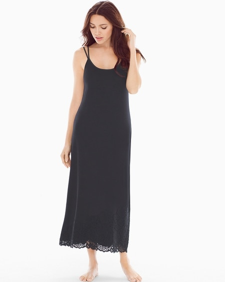 Lace Cutout Tea Length Nightgown Black