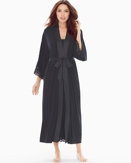 Cool Nights Lace Cutout Tea Length Robe Black