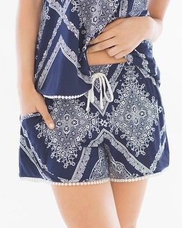 Embraceable Cool Nights Crochet Pajama Shorts Lacework Navy