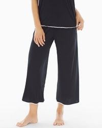 Embraceable Cool Nights Crochet Crop Pajama Pants Black/Ivory