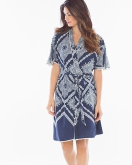 Embraceable Cool Nights Crochet Short Robe Lacework Navy