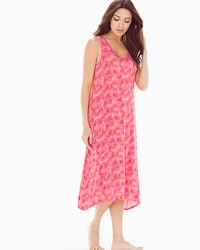 Embraceable Cool Nights Tea Length Nightgown Bali Palms Mini Guava
