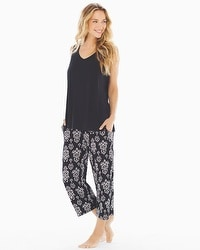 Cool Night Crop Pants Pajama Set Bold Ikat Black