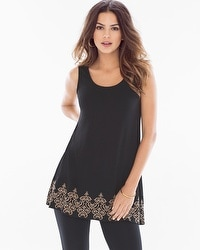 Live. Lounge. Wear. Soft Jersey Border Tunic Caravan Black
