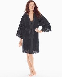 Allover Lace Robe Black