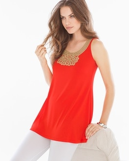 Live. Lounge. Wear. Soft Jersey Soutache Tunic Poppy