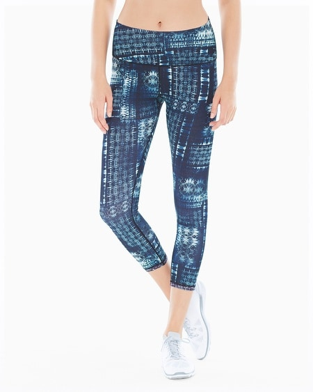 Reversible Printed Crop Leggings Black Combo