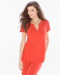 Embraceable Cool Nights Pop Over Pajama Top Guava