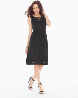 Cutwork Sleeveless Short Black Dress