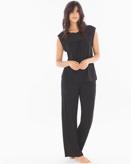 Midnight by Carole Hochman Chiffon Pajama Set Black