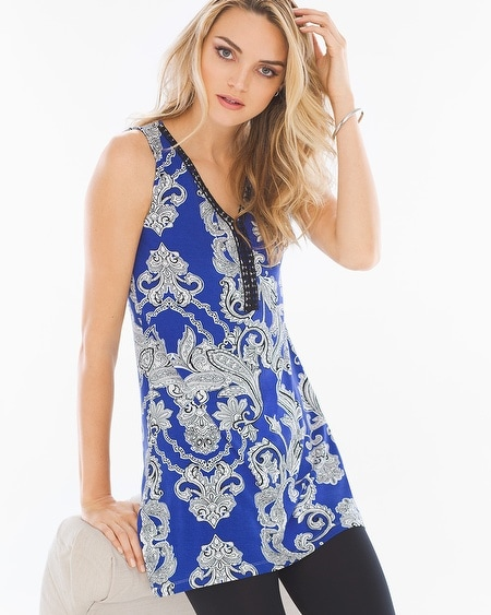 Soft Jersey Crochet Trim Sleeveless Tunic Spirit Paisley Jewel