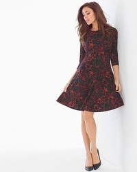 Leota Simone Fit and Flare Dress Plum Flora
