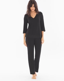 Midnight by Carole Hochman Lace Trim Pajama Set Black