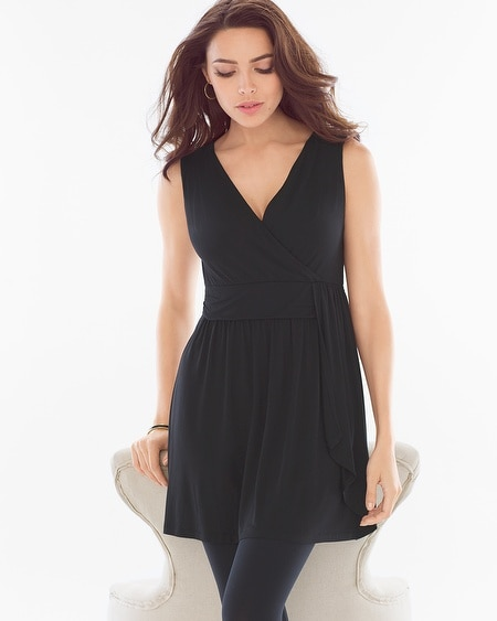 Soft Jersey Side Wrap Tunic Black