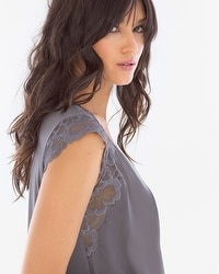 Camellia Lace Short Nightgown Excalibur Grey
