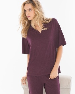 Cool Nights Pop Over Pajama Top Heather Marsala