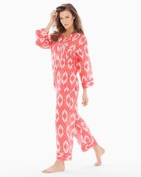 Natori Batik Cotton Pajama Set Coral