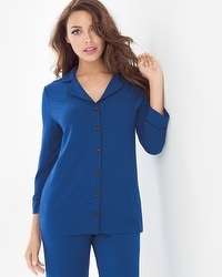 Cool Nights 3/4-Sleeve Notch Collar Pajama Top Majesty Blue