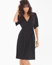 Kimono Wrap Short Dress Black