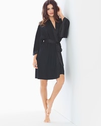 Short Chiffon Robe Black
