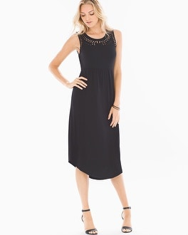Cutout Detail Sleeveless Midi Dress Black