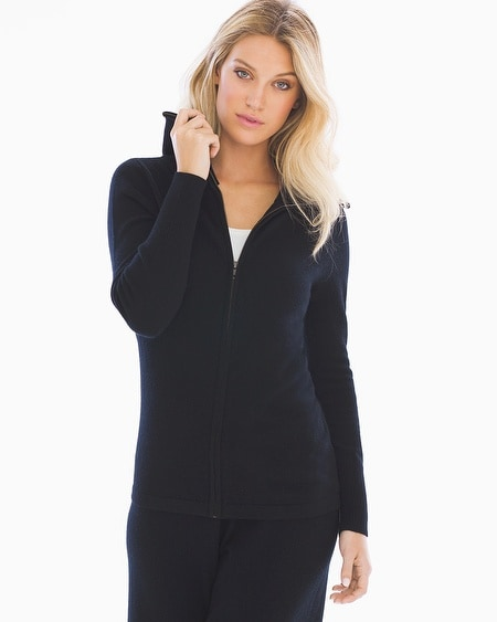 Cashmere/Wool Blend Zip Front Jacket
