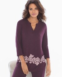 Cool Nights 3/4 Sleeve Pop Over Top Luscious Lace Border Marsala