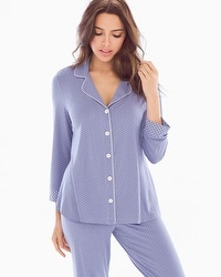 Cool Nights Notch Collar 3/4 Sleeve Pajama Top Little Dot Blue Chill