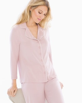 Cool Nights Notch Collar 3/4 Sleeve Pajama Top Vintage Pink