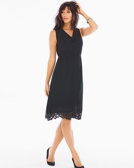 Venice Hem Sleeveless Short Dress Black