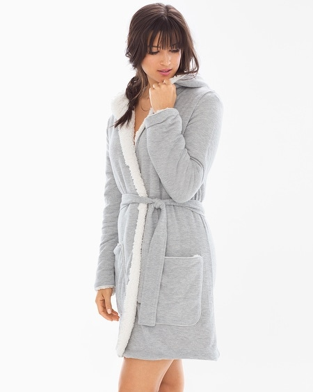 Cozy Lounge Faux Sherpa Hoody Short Robe Heather Grey