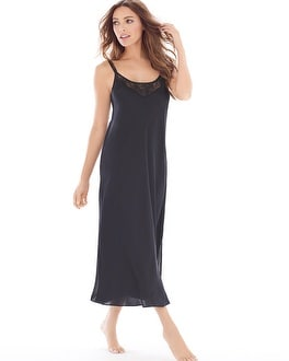 Satin and Lace Tea Length Nightgown Black
