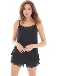 Satin and Lace Pajama Tap Set Black