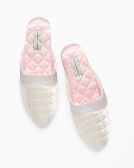 Patricia Green Jackie Slipper Ivory With Pink Lining