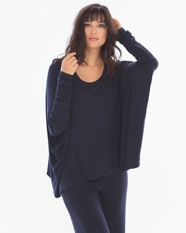 Samantha Chang Home Long Sleeve Crew Top Deep Blue