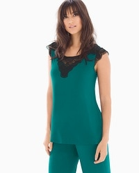 Regal Lace Short Sleeve Pajama Top Green Envy