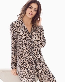 Embraceable Long Sleeve Notch Collar Pajama Top Jaguar Neutral