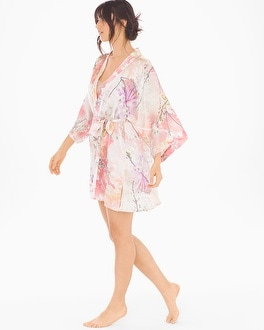 Samantha Chang Classics Silk Short Kimono Robe Love Story