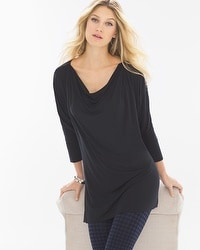 Live. Lounge. Wear. Shirred Boatneck Tunic-Black